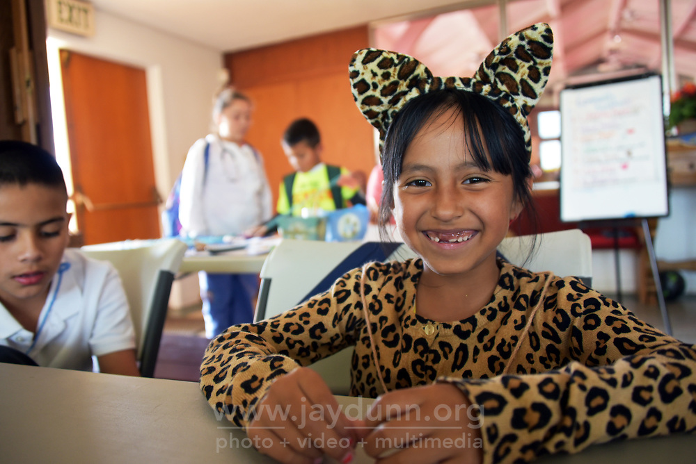 Gabriela Regalado enjoys her leopard costume for Halloween at LIFE's after-school program in east Salinas.
