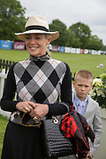 SHARON STONE AND HER SON ROAN, Cartier Queen's Cup final at Guards Polo Club, Windsor Great Park. 16 June 2013