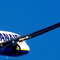 Ryanair Boeing 737-800 taking off from Cork Airport.<br /> Aviation and Aerial Photography by John Allen