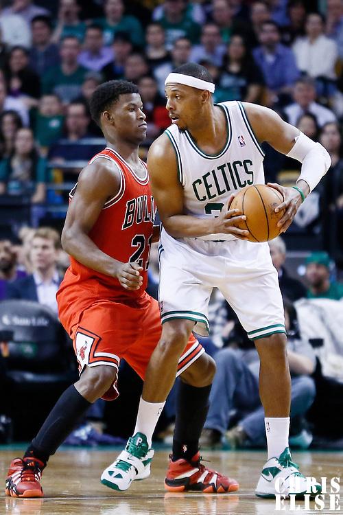 13 February 2013: Chicago Bulls small forward Jimmy Butler (21) defends on Boston Celtics small forward Paul Pierce (34) during the Boston Celtics 71-69 victory over the Chicago Bulls at the TD Garden, Boston, Massachusetts, USA.