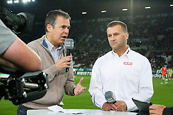 14.09.2012, SGL Arena, Augsburg, GER, 1. FBL, FC Augsburg vs VfL Wolfsburg, 03. Runde, im Bild Andreas RETTIG (Ex-Manager FCA, li.) im Liga total - Interview zusammen mit Manfred PAULA (Manager Sport FC Augsburg) // during the German Bundesliga 03rd round match between FC Augsburg and VfL Wolfsburg at the SGL Arena, Augsburg, Germany on 2012/09/14. EXPA Pictures © 2012, PhotoCredit: EXPA/ Eibner/ Klaus Rainer Krieger..***** ATTENTION - OUT OF GER *****