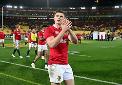 British and Irish Lions' Owen Farrell applauds the fans after the second test of the 2017 British and Irish Lions tour at Westpac Stadium, Wellington.