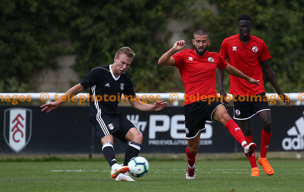Crawley's George Francomb in action during the pre season friendly between Fulham and Crawley Town at Motspur Park Training Ground, London, UK. 07 July 2018.