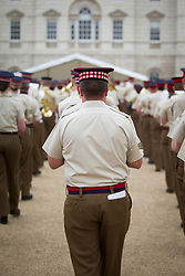 © Licensed to London News Pictures. 10/06/2013. London, UK. The Massed Bands of the British Army's Household Division carry out a dress rehearsal ahead of the annual Beating Retreat ceremony in London today (10/06/2013). The musical event, which takes place on Horse Guards Parade, will be held on the 12th and 13th of June this year, with Prince Philip and the Queen attending. Photo credit: Matt Cetti-Roberts. Photo credit: Matt Cetti-Roberts/LNP