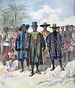 Prince Kosko and four of King Tiffa of Dahomey's ministers and their retinue in the Champ-de-Mars, Paris. From 'Le Petit Journal', Paris, 22 April 1893.  France, Africa, Colonialism, Benin