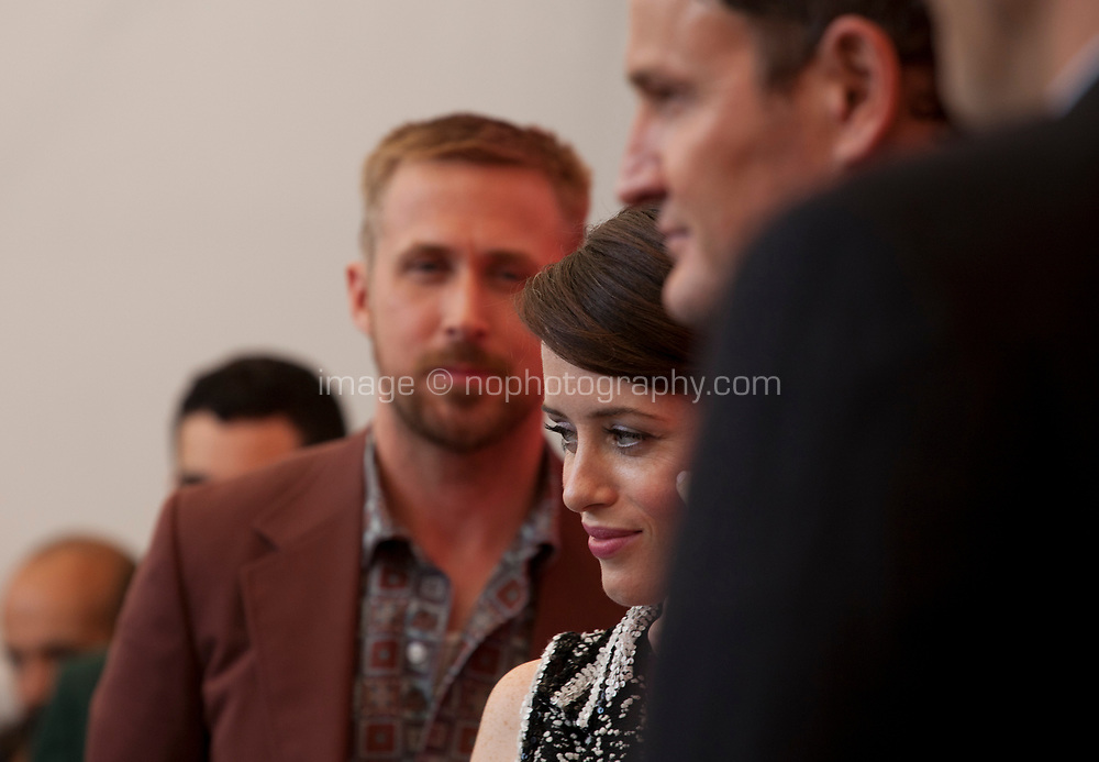 Claire Foy with Director Damien Chazelle, actors Ryan Gosling, Jason Clark, Olivia Hamilton and screenwriter Josh Singer at the photocall for the film First Man at the 75th Venice Film Festival, on Wednesday 29th August 2018, Venice Lido, Italy.