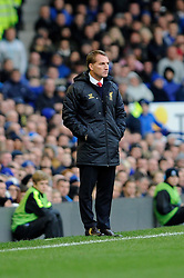 Liverpool Manager, Brendan Rodgers - Photo mandatory by-line: Dougie Allward/JMP - Tel: Mobile: 07966 386802 23/11/2013 - SPORT - Football - Liverpool - Merseyside derby - Goodison Park - Everton v Liverpool - Barclays Premier League