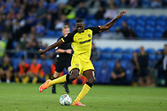 Lucas Akins of Burton Albion (c) in action.Carabao Cup 2nd round match, Cardiff city v Burton Albion at the Cardiff City Stadium in Cardiff, South Wales on Tuesday 22nd August  2017.<br /> pic by Andrew Orchard, Andrew Orchard sports photography.
