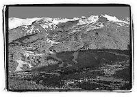 Black and white image of Blackcomb Mountain in the day, winter.