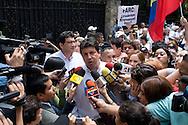 El embajador de Colombia en Venezuela Fernando Marín Valencia habla a los medios de comunicación durante la manifestación, convocada también en las principales ciudades colombianas y en más de 130 urbes del mundo, para pedir el final de las FARC y la libertad de los secuestrados por la guerrilla en Colombia. Caracas, 4 feb 2008. (ivan gonzalez)