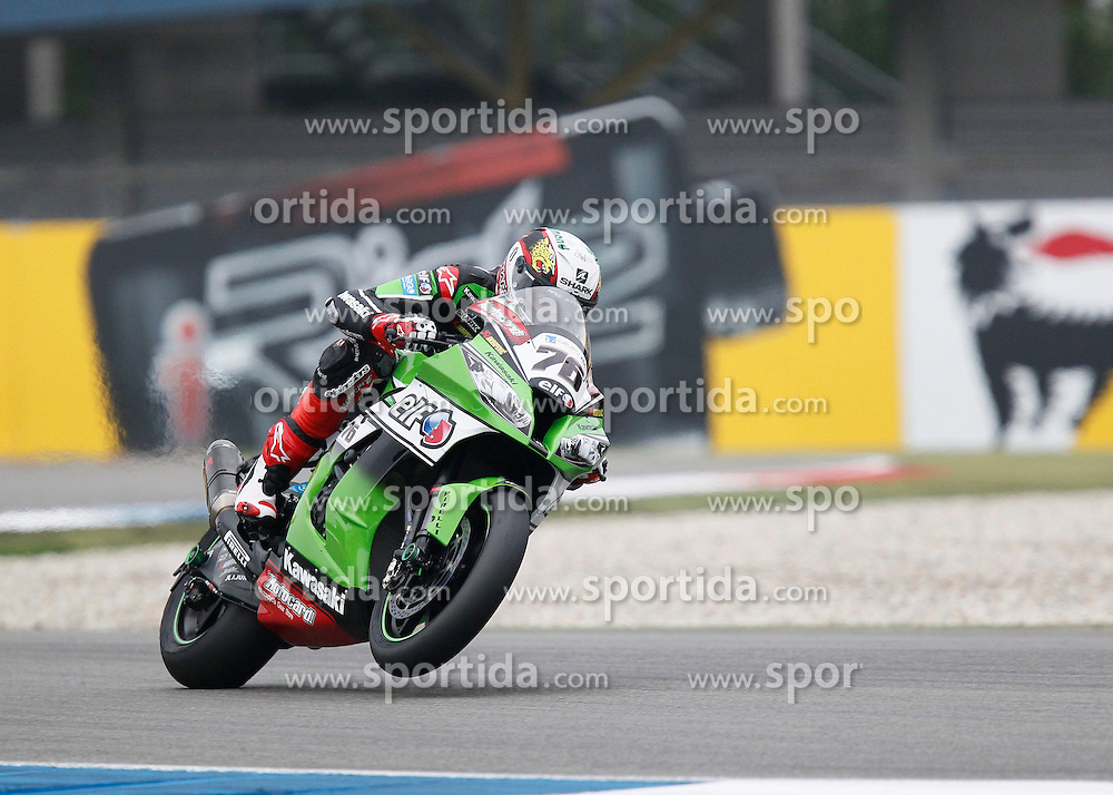 27.04.2014, TT Assen Circuit, Assen, NED, FIM, Superbike World Championship, Assen, Warm Up, Rennen, im Bild 76 Loris Baz // during the Warm up and Race of Round 3 - Assen FIM Superbike World Championship at the TT Assen Circuit in Assen, Netherlands on 2014/04/27. EXPA Pictures &copy; 2014, PhotoCredit: EXPA/ Eibner-Pressefoto/ Stiefel<br /> <br /> *****ATTENTION - OUT of GER*****