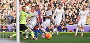 All eyes watch the ball as Yannick Boladie's shot is parried onto the bar by David De Gea during the Barclays Premier League match between Crystal Palace and Manchester United at Selhurst Park, London, England on 31 October 2015. Photo by Michael Hulf.