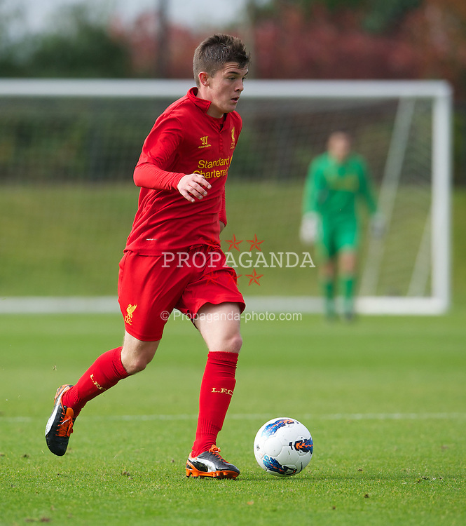 KIRKBY, ENGLAND - Saturday, October 20, 2012: Liverpool's Daniel Trickett-Smith in action against Manchester City during the Premier League Academy match at the Kirkby Academy. (Pic by David Rawcliffe/Propaganda)