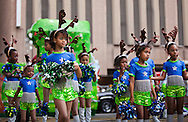"""December 3, 2011, a dancing troop of young girls dressed as reindeer get ready to take part in the New Orleans' official holiday parade, hosted by the """"Krewe of Jingle"""". New Orleans tourist industry is showcasing New Orleans as a Christmas travel destination."""