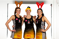 Tamsin Moala, Rachel Dunn and Katie Harris of Wasps Netball Christmas - Mandatory by-line: Robbie Stephenson/JMP - 02/11/2019 - NETBALL - Ricoh Arena - Coventry, England - Wasps Netball Headshots