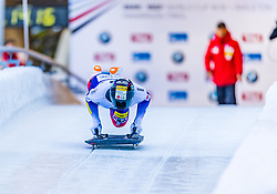 17.01.2020, Olympia Eiskanal, Innsbruck, AUT, BMW IBSF Weltcup Bob und Skeleton, Igls, Skeleton, Herren, 1. Lauf, im Bild Jisoo Kim (KOR) // Jisoo Kim of Republic of Korea in action during his 1st run of men's Skeleton competition of BMW IBSF World Cup at the Olympia Eiskanal in Innsbruck, Austria on 2020/01/17. EXPA Pictures © 2020, PhotoCredit: EXPA/ Stefan Adelsberger