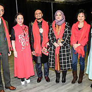 Toms Chen,Connie Zhang,Cllr Humayun Kabir and wife, Toms Chen wife and last is Cllr Maryam Eslamdoust attends the 2020 China-Britain Chinese New Year Extravaganza with 200 performers from over 20 art groups from both China and the UK showcase at Logan Hall on 18th January 2020, London, UK.