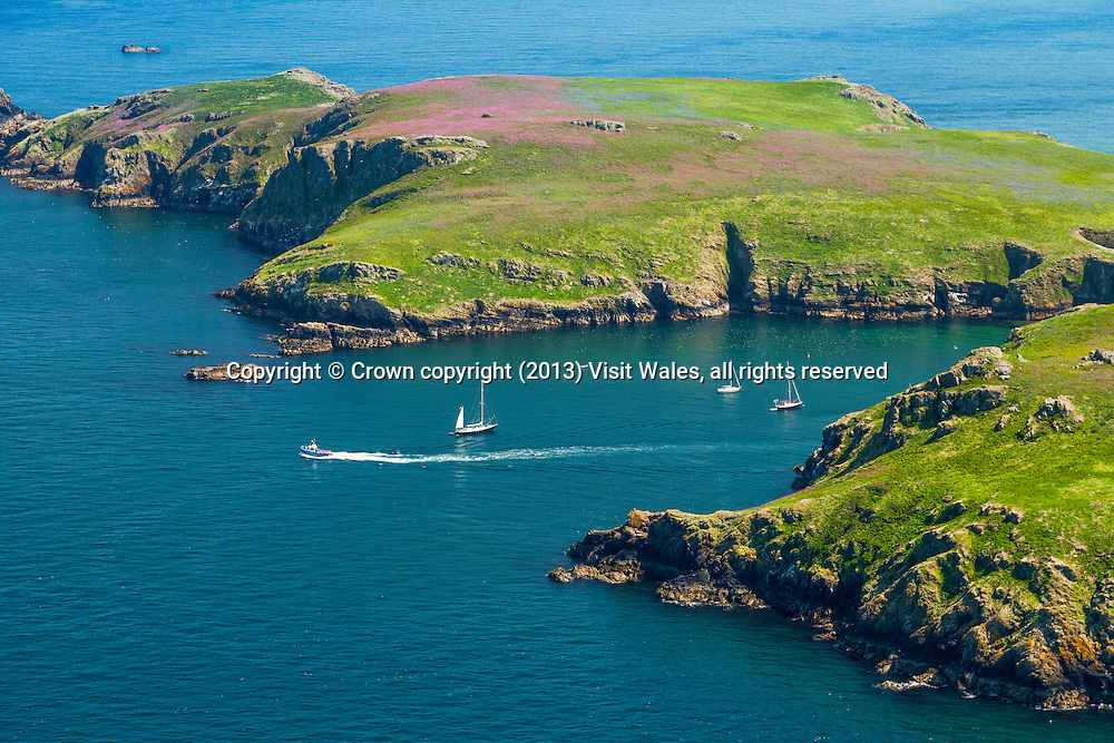 North Haven<br /> Skomer<br /> Aerial view of island<br /> Pembrokeshire<br /> South<br /> Coastal Scenery