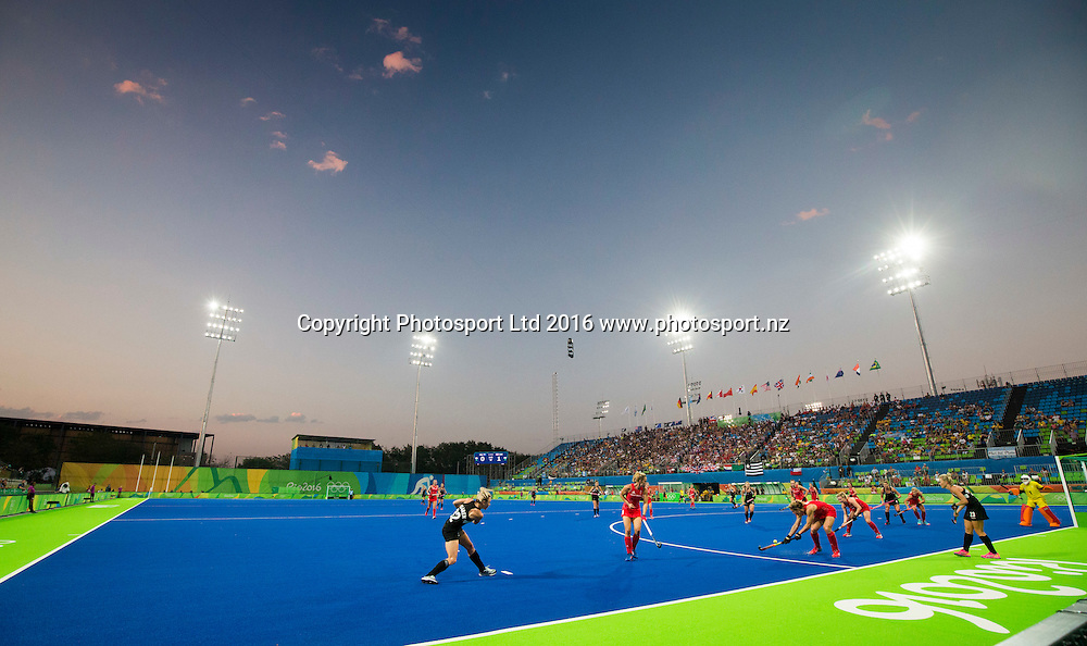 General view of the stadium. New Zealand Blacksticks women v Great Britain, Olympic hockey Semi Final Olympic Rowing,  Rio Olympics Games 2016, Rio de Janeiro. Wednesday 17 August, 2016. Copyright photo: John Cowpland / www.photosport.nz