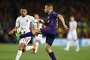 JORDI ALBA of FC Barcelona controls the ball under pressure from BRUNO PERES of AS Roma during the UEFA Champions League, quarter final, 1st leg football match between FC Barcelona and AS Roma on April 4, 2018 at Camp Nou stadium in Barcelona, Spain - Photo Manuel Blondeau / AOP Press / ProSportsImages / DPPI