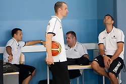 Assistant coaches Aleksander Sekulic, Gasper Potocnik, Jernej Bobic and Tomaz Brinec during media day at training camp of Slovenian National Basketball team for Eurobasket Lithuania 2011, on July 19, 2011, in Arena Ljudski vrt, Ptuj, Slovenia.  (Photo by Vid Ponikvar / Sportida)