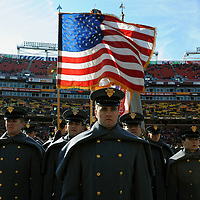 10 December 2011:   The Army Black Knights Corps of Cadets marches on to the field prior to the game against the Navy Midshipmen at Fed Ex field in Landover, Md. in the 112th annual Army Navy game where Navy defeated Army, 27-21 for the 10th consecutive time.