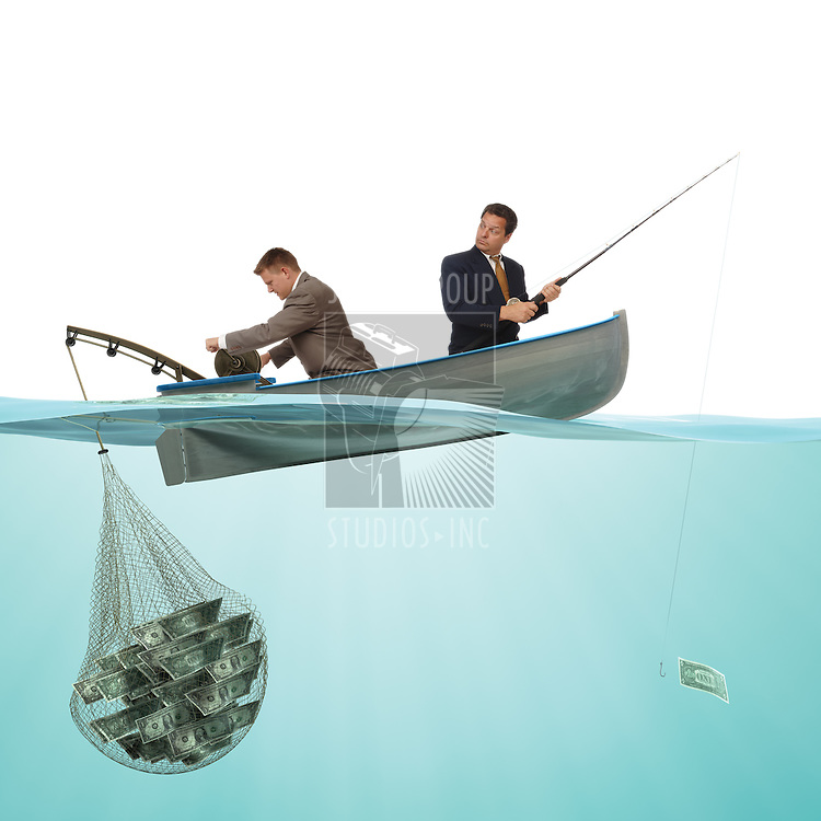 2 buisness men on a small fishing boat fishing money out if the sea from a split view of a under and above water profile.