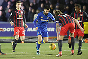 AFC Wimbledon defender George Francomb (7) taking on Blackburn Rovers defender Charlie Mulgrew (14) during the EFL Sky Bet League 1 match between AFC Wimbledon and Blackburn Rovers at the Cherry Red Records Stadium, Kingston, England on 27 February 2018. Picture by Matthew Redman.