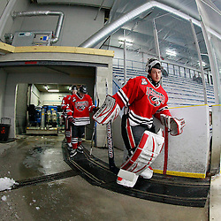 TORONTO, ON - Feb 16 : Ontario Junior Hockey League Game Action between the Milton Ice Hawks and the Toronto Jr. Canadiens, Tyler Lewis  #29 of the Milton Ice Hawks Hockey Club takes to the ice for the start of the game.<br /> (Photo by Brian Watts / OJHL Images)