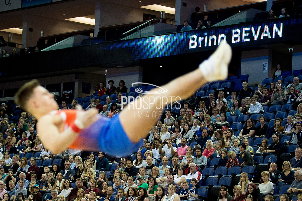 Brinn Bevan of Great Britain (GBR) during his Floor routine at the iPro Sport World Cup of Gymnastics 2017 at the O2 Arena, London, United Kingdom on 8 April 2017. Photo by Martin Cole.