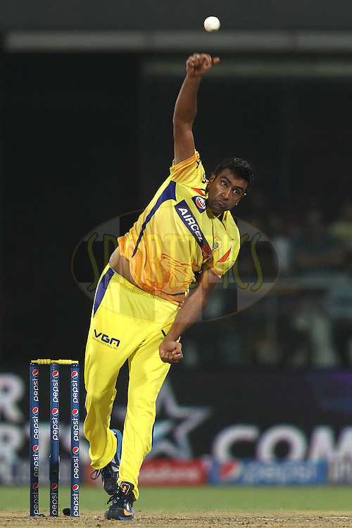 Ravichandran Ashwin of The Chennai Super Kings sends down a delivery during match 26 of the Pepsi Indian Premier League Season 2014 between the Delhi Daredevils and the Chennai Super Kings held at the Feroze Shah Kotla cricket stadium, Delhi, India on the 5th May  2014<br /> <br /> Photo by Shaun Roy / IPL / SPORTZPICS<br /> <br /> <br /> <br /> Image use subject to terms and conditions which can be found here:  http://sportzpics.photoshelter.com/gallery/Pepsi-IPL-Image-terms-and-conditions/G00004VW1IVJ.gB0/C0000TScjhBM6ikg