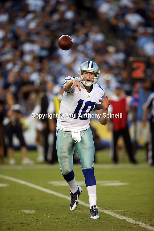 Dallas Cowboys quarterback Dustin Vaughan (10) throws a first quarter pass during the 2015 NFL preseason football game against the San Diego Chargers on Thursday, Aug. 13, 2015 in San Diego. The Chargers won the game 17-7. (©Paul Anthony Spinelli)