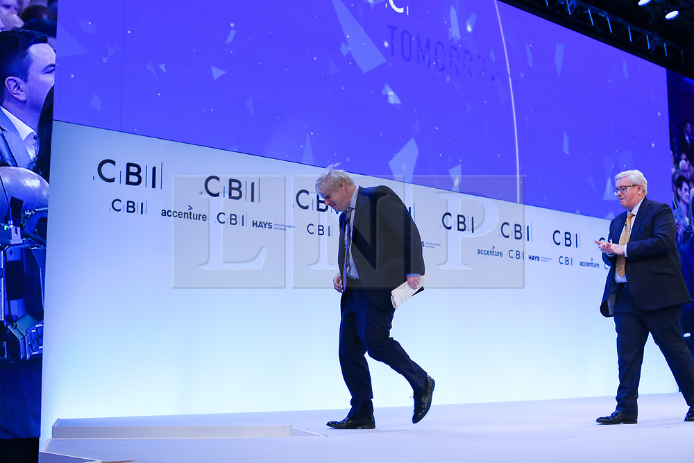 © Licensed to London News Pictures. 18/11/2019. London, UK. Prime Minister, BORIS JOHNSON leaves after making a keynote speech at the annual CBI (Confederation of British Industry) conference at Intercontinental Hotel, Greenwich. Photo credit: Dinendra Haria/LNP