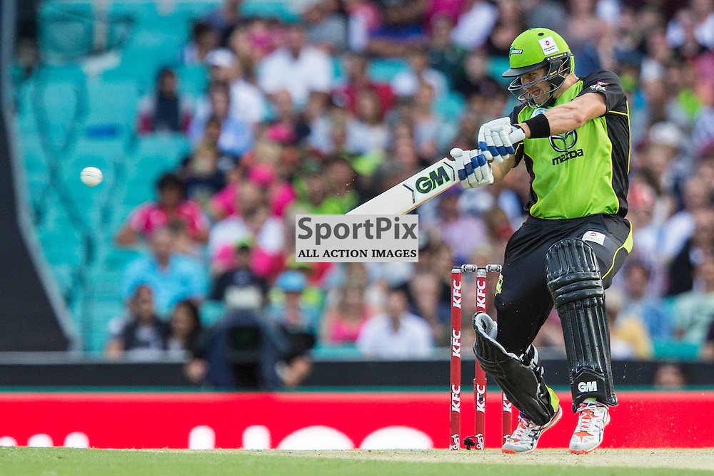 KFC Big Bash League T20 2015-16 , Sydney Sixers v Sydney Thunder, SCG; 16 January 2016<br /> Sydney Thunder Shane Watson cuts for 4