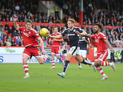 Dundee's Greg Stewart is double marked by Aberdeen&rsquo;s Ash Taylor and Shaleum Logan- Aberdeen v Dundee at Pittodrie<br /> - Ladbrokes Premiership<br /> <br />  - &copy; David Young - www.davidyoungphoto.co.uk - email: davidyoungphoto@gmail.com