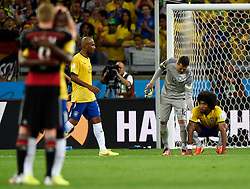 08.07.2014, Mineirao, Belo Horizonte, BRA, FIFA WM, Brasilien vs Deutschland, Halbfinale, im Bild Brazil's Dante (1st R) and goalkeeper Julio Cesar (2nd R) react // during Semi Final match between Brasil and Germany of the FIFA Worldcup Brazil 2014 at the Mineirao in Belo Horizonte, Brazil on 2014/07/08. EXPA Pictures © 2014, PhotoCredit: EXPA/ Photoshot/ Qi Heng<br /> <br /> *****ATTENTION - for AUT, SLO, CRO, SRB, BIH, MAZ only*****