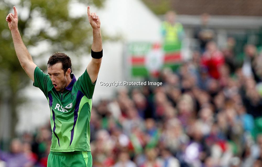 RSA Challenge ODI, Clontarf Cricket Club, Dublin, 25/8/2011<br />Ireland vs England<br />Ireland's Nigel Jones celebrates taking the wicket of Samit Patel of England caught by Kevin O'Brien<br />Mandatory Credit &copy;INPHO/James Crombie  *** Local Caption ***