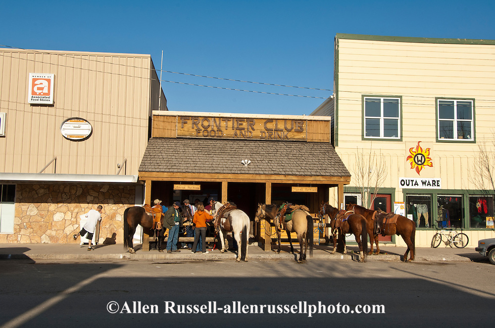 Three Forks, Montana, horses outside bar