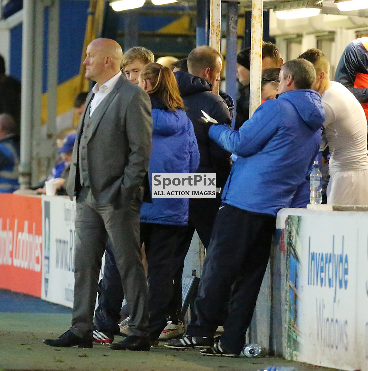 Jim Duffy happy with 3 points  during the Morton v Queen of the South Scottish Championship 14  November 2015 <br /> <br /> (c) Andy Scott | SportPix.org.uk