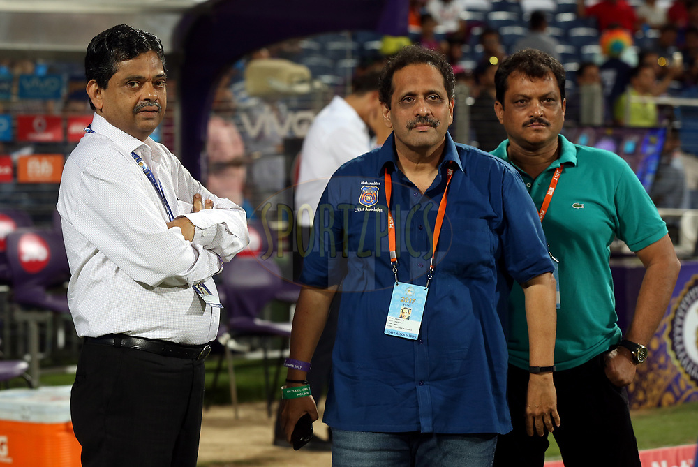 Ratnakar Shetty is the BCCI's head of operations and Abhay Apte MCA President during match 30 of the Vivo 2017 Indian Premier League between the Rising Pune Supergiants and the Kolkata Knight Riders  held at the MCA Pune International Cricket Stadium in Pune, India on the 26th April 2017<br /> <br /> Photo by Sandeep Shetty - Sportzpics - IPL