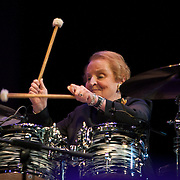 Madeleine Albright plays drums at the 25th annual Thelonious Monk International Jazz Competition and ?Women, Music and Diplomacy? All-Star Gala Concert at the Kennedy Center presented by the world-renowned Thelonious Monk Institute of Jazz. <br /> <br /> Secretary Albright received the Maria Fisher Founder's Award in recognition of her support of the Institute, jazz education, and the role jazz plays in diplomatic efforts worldwide.
