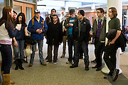 Producers of each team wait outside of 1804 Lounge in Baker University Center for their assignment. .