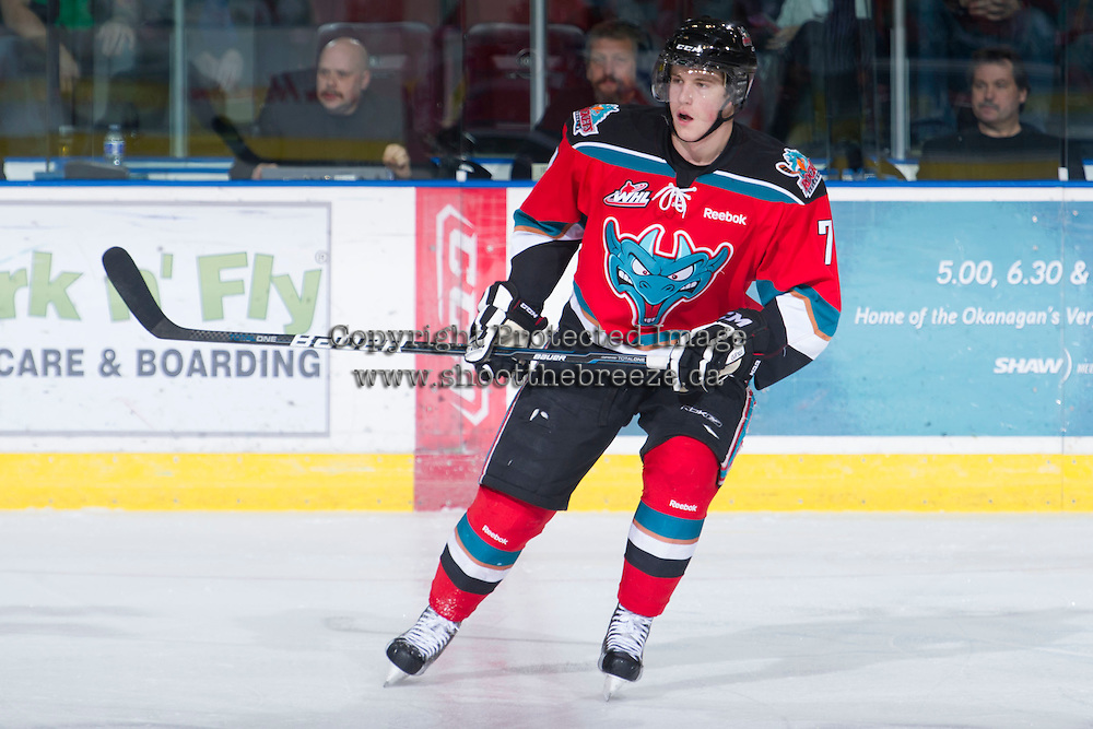 KELOWNA, CANADA - DECEMBER 5: Damon Severson #7 of the Kelowna Rockets skates on the ice against the Swift Current Broncos at the Kelowna Rockets on December 5, 2012 at Prospera Place in Kelowna, British Columbia, Canada (Photo by Marissa Baecker/Shoot the Breeze) *** Local Caption ***