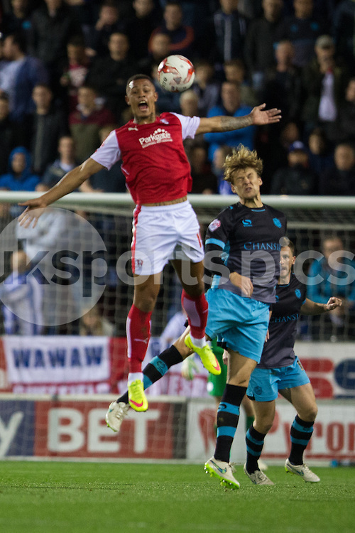 Jonson Clarke-Harris of Rotherham United heads the ball during the Sky Bet Championship match between Rotherham United and Sheffield Wednesday at the Aesseal New York Stadium, Rotherham, England on 23 October 2015. Photo by James Williamson.