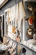 Lace and carnival masks, Burano, Veneto, Italy
