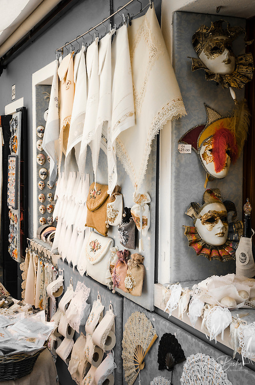 Lace and carnival masks, Burano, Veneto, Italy