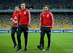KIEV, UKRAINE - Easter Monday, March 28, 2016: Wales' James Chester and Joe Allen before the International Friendly match against Ukraine at the NSK Olimpiyskyi Stadium. (Pic by David Rawcliffe/Propaganda)