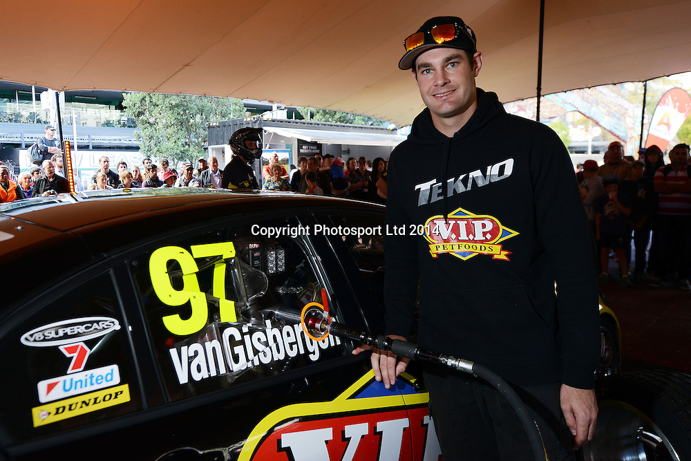 Shane van Gisbergen, V8 Supercar drivers participate in a pit stop competition and fan signing session in Aotea Square, Queen St, Auckland ahead of this weekends ITM 500. 23 April 2014. Photo: Andrew Cornaga/www.photosport.co.nz