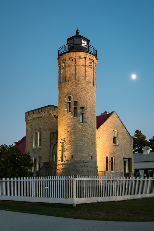 The moon rises above Old Mackinac Point Lighthouse - Mackinaw City, MI