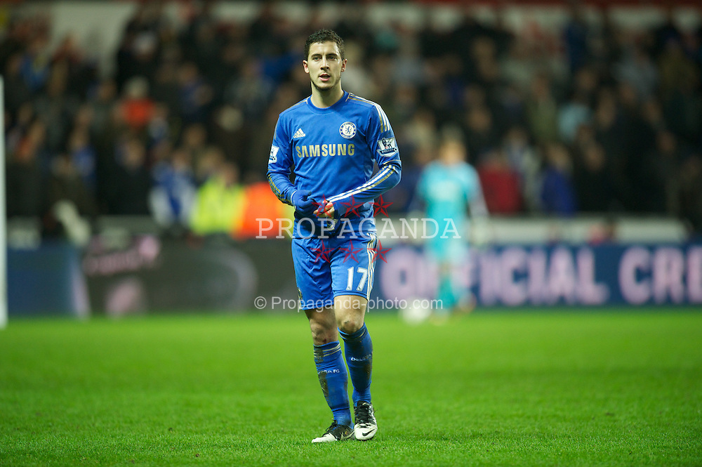 SWANSEA, WALES - Wednesday, January 23, 2013: Chelsea's Eden Hazard walks off after being sent off for kicking a ball-boy during the Football League Cup Semi-Final 2nd Leg match against Swansea City at the Liberty Stadium. (Pic by David Rawcliffe/Propaganda)